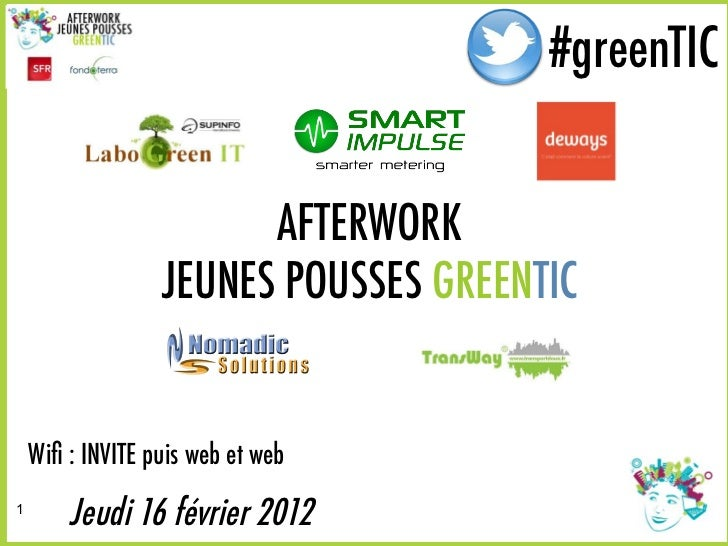 #greenTIC                                       #greenTIC                        AFTERWORK                  JEUNES POUSSES...