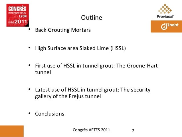 Use of Special Hydrated Lime for Tunnel Grouts Slide 2