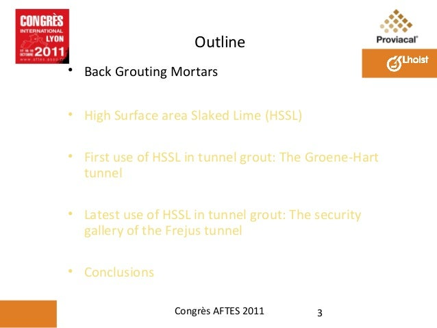 Use of Special Hydrated Lime for Tunnel Grouts Slide 3