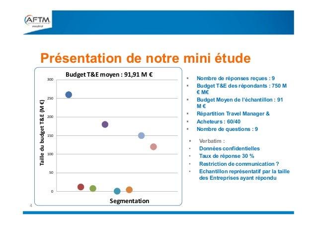 Présentation de notre mini étude Taille du budget T&E (M €)  300  Budget T&E moyen : 91,91 M €  250       200  150   ...
