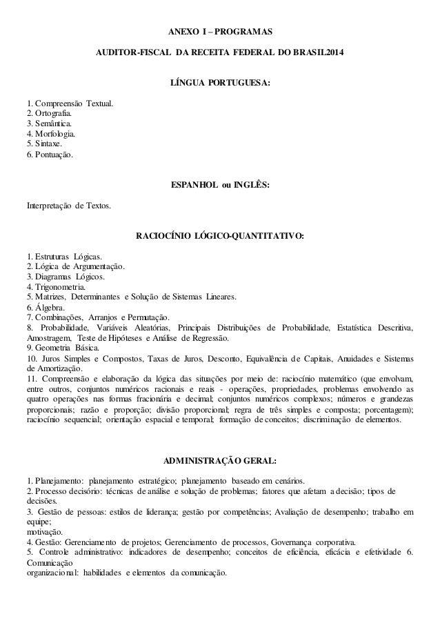 ANEXO I – PROGRAMAS AUDITOR-FISCAL DA RECEITA FEDERAL DO BRASIL2014 LÍNGUA PORTUGUESA: 1. Compreensão Textual. 2. Ortograf...