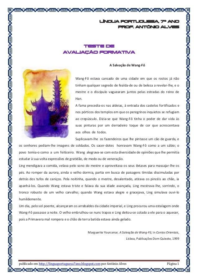 publicado em http://linguaportuguesa7ano.blogspot.com por António Alves Página 1 LÍNGUA PORTUGUESA, 7º ANO PROF. ANTÓNIO A...