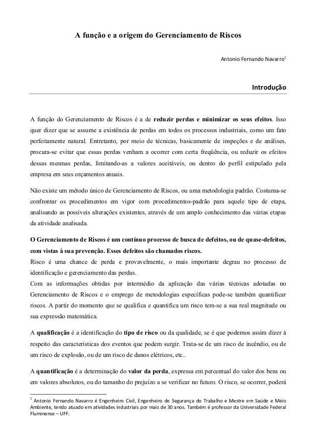 A função e a origem do Gerenciamento de Riscos Antonio Fernando Navarro1  Introdução  A função do Gerenciamento de Riscos ...