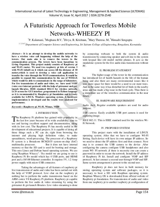 A futuristic approach for towerless mobile networks wheezy pi