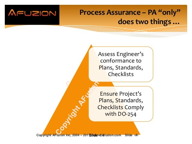 Assess Engineer's conformance to Plans, Standards, Checklists Ensure Project's Plans, Standards, Checklists Comply with DO...
