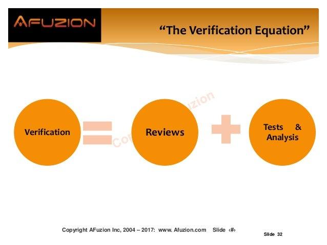 "Slide 32 ""The Verification Equation"" Verification Reviews Tests & Analysis Copyright AFuzion Inc, 2004 – 2017: www. Afuzio..."