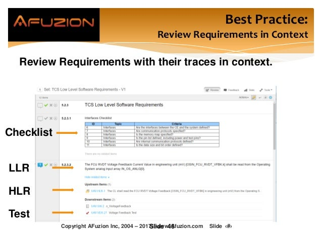 Best Practice: Review Requirements in Context Review Requirements with their traces in context. Slide 46 Checklist LLR HLR...