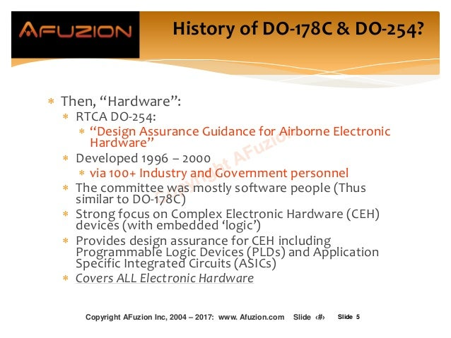 "Slide 5  Then, ""Hardware"":  RTCA DO-254:  ""Design Assurance Guidance for Airborne Electronic Hardware""  Developed 1996..."