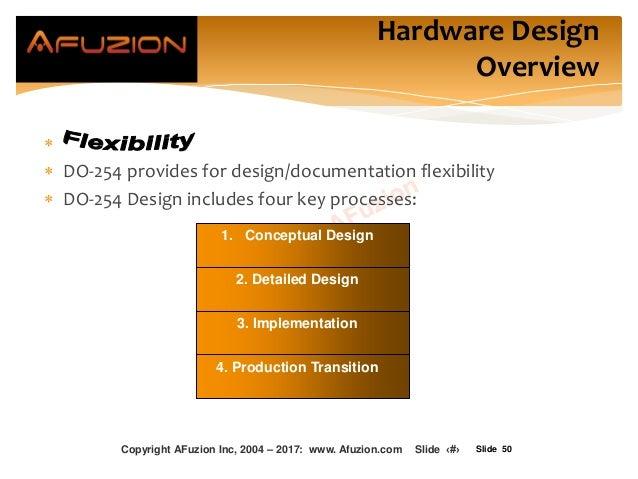 Slide 50   DO-254 provides for design/documentation flexibility  DO-254 Design includes four key processes: 1. Conceptu...