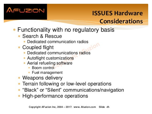 ISSUES Hardware Considerations  Functionality with no regulatory basis  Search & Rescue  Dedicated communication radios...