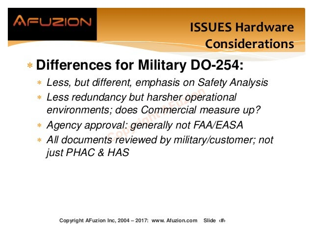ISSUES Hardware Considerations  Differences for Military DO-254:  Less, but different, emphasis on Safety Analysis  Les...
