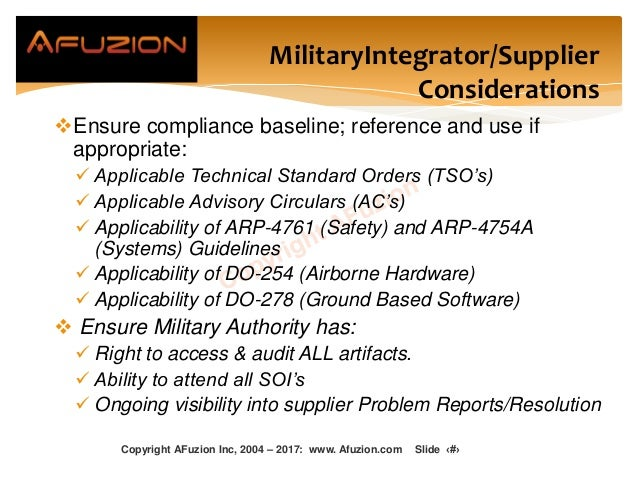 MilitaryIntegrator/Supplier Considerations Ensure compliance baseline; reference and use if appropriate:  Applicable Tec...