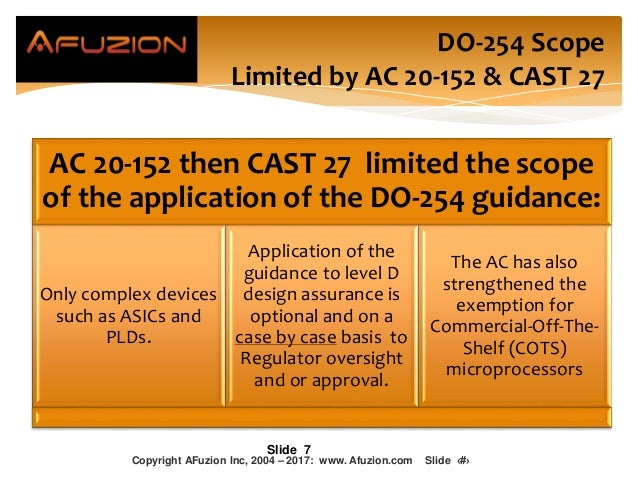 AC 20-152 then CAST 27 limited the scope of the application of the DO-254 guidance: Only complex devices such as ASICs and...