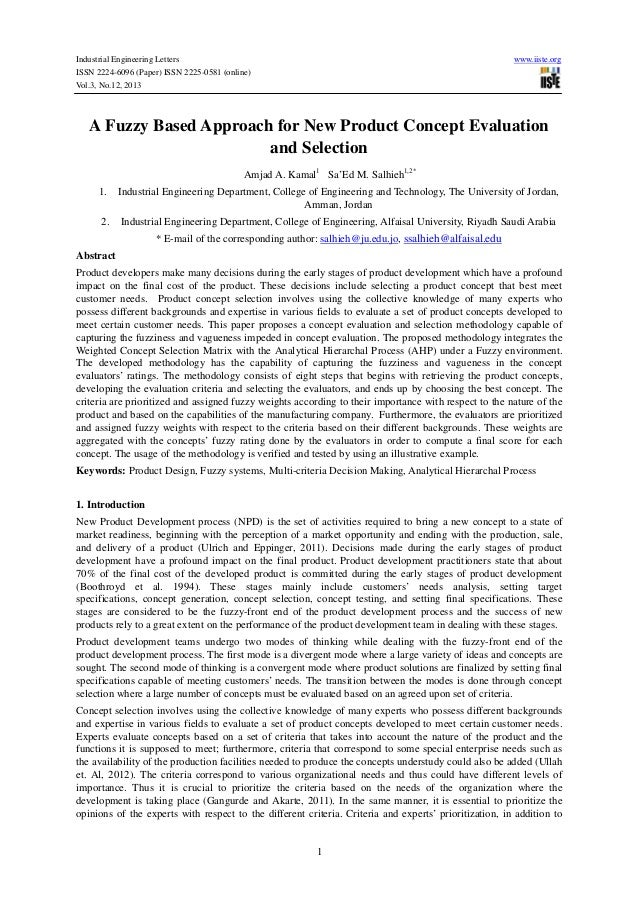 Industrial Engineering Letters ISSN 2224-6096 (Paper) ISSN 2225-0581 (online) Vol.3, No.12, 2013  www.iiste.org  A Fuzzy B...