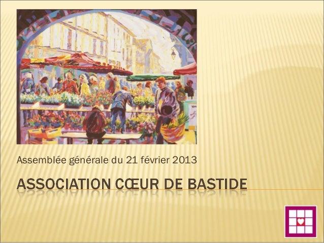 Assemblée générale du 21 février 2013