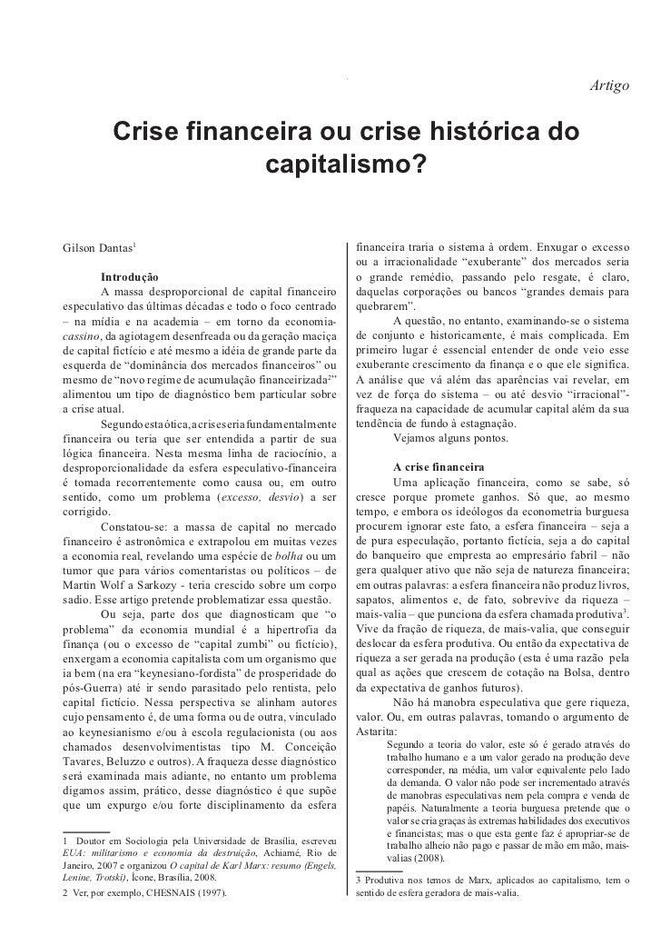 Artigo           Crise financeira ou crise histórica do                       capitalismo?Gilson Dantas                   ...