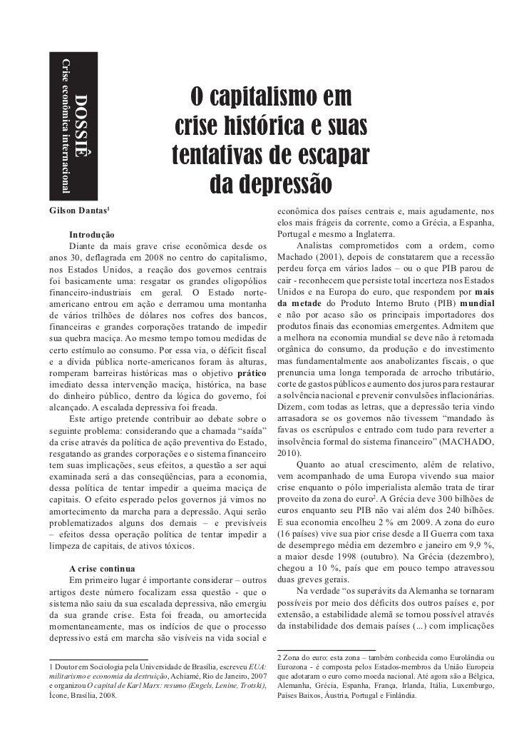Crise econômica internacional                                        O capitalismo em                        DOSSIÊ       ...