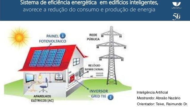 Sistema de eficiência energética em edifícios inteligentes, avorece a redução do consumo e produção de energia Mestrando: ...