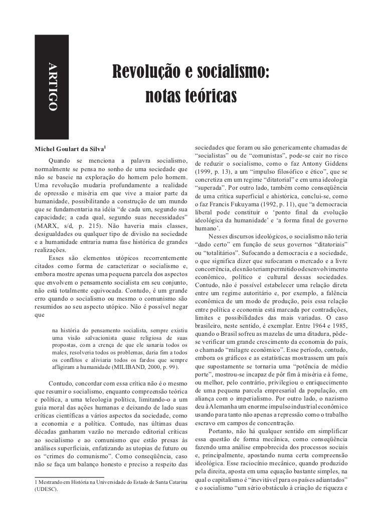 Revolução e socialismo:    ARTIGO                                      notas teóricasMichel Goulart da Silva              ...