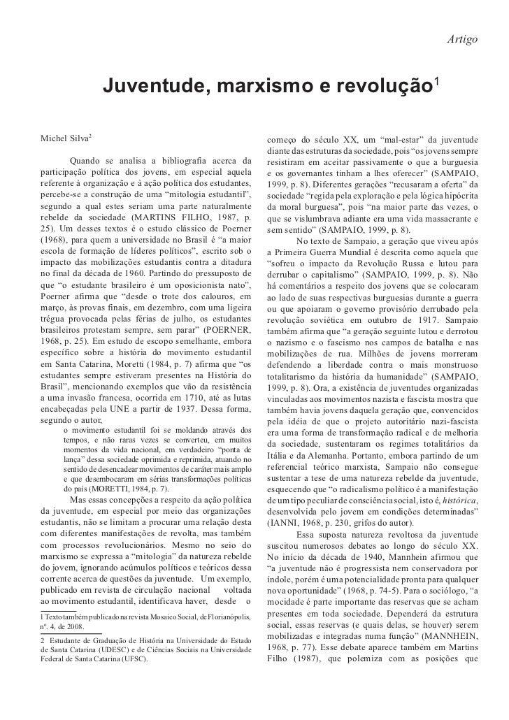 Artigo                    Juventude, marxismo e revolução1                                                                ...