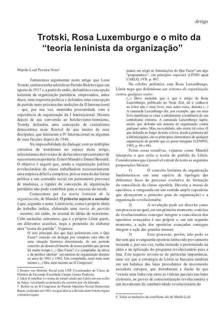 """Artigo               Trotski, Rosa Luxemburgo e o mito da                """"teoria leninista da organização""""Murilo Leal Pere..."""