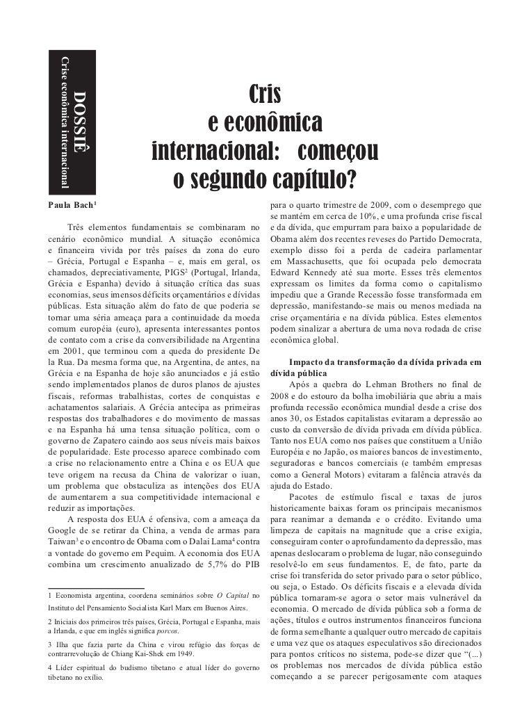 Crise econômica internacional                                              Cris                        DOSSIÊ             ...