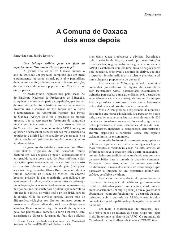 Entrevista                                  A Comuna de Oaxaca                                    dois anos depoisEntrevis...