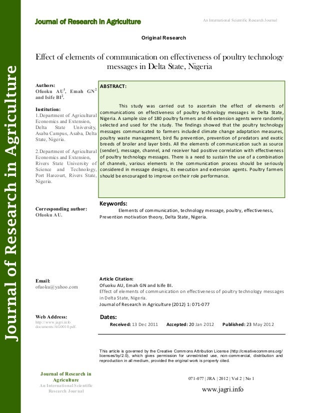 Effect of elements of communication on effectiveness of poultry technology messages in Delta State, Nigeria Keywords: Elem...