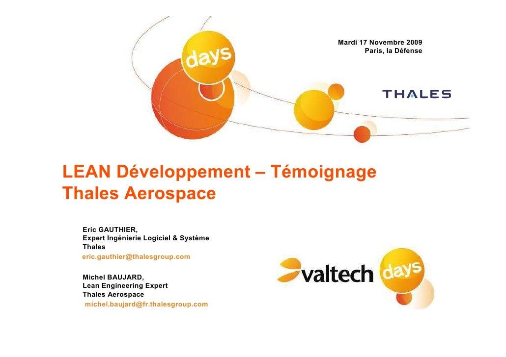 Mardi 17 Novembre 2009                                                Paris, la Défense     LEAN Développement – Témoignag...