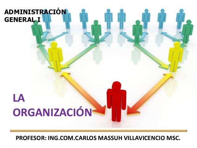 ADMINISTRACIÓNGENERAL I LA ORGANIZACIÓN  PROFESOR: ING.COM.CARLOS MASSUH VILLAVICENCIO MSC.                               ...