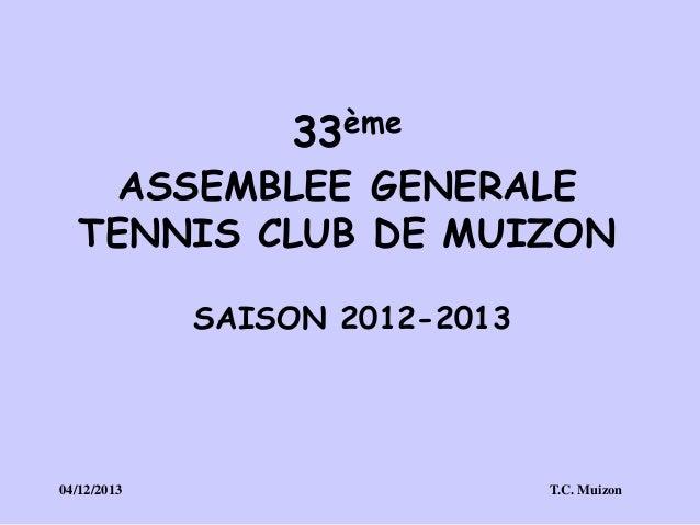 33ème  ASSEMBLEE GENERALE TENNIS CLUB DE MUIZON SAISON 2012-2013  04/12/2013  T.C. Muizon