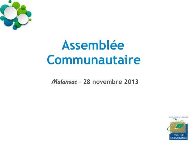 Assemblée Communautaire Malansac – 28 novembre 2013
