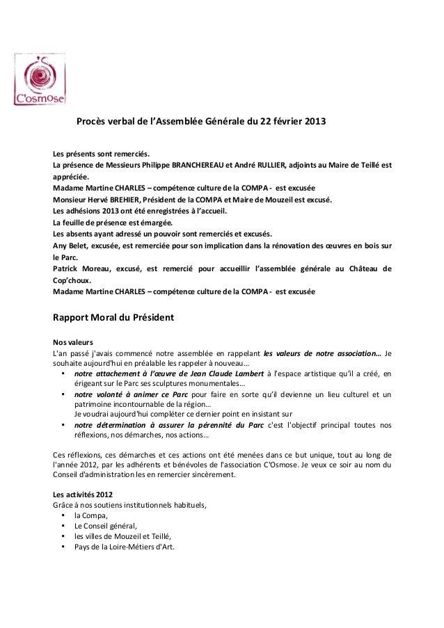 Procès verbal de l'Assemblée Générale du 22 février 2013  Les présents sont re...