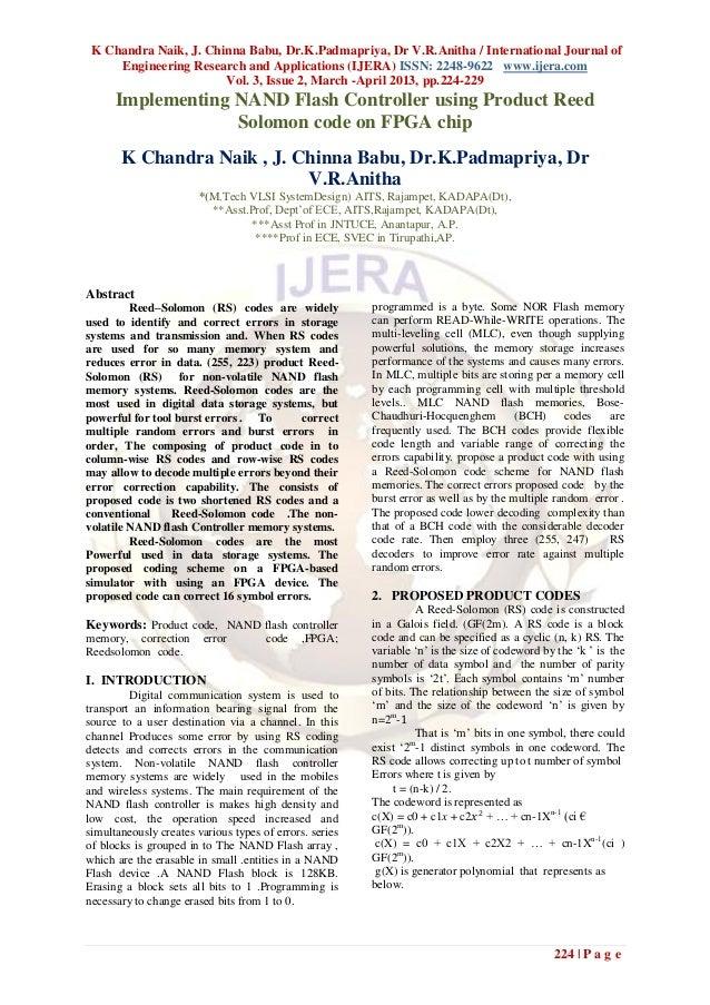 K Chandra Naik, J. Chinna Babu, Dr.K.Padmapriya, Dr V.R.Anitha / International Journal of     Engineering Research and App...