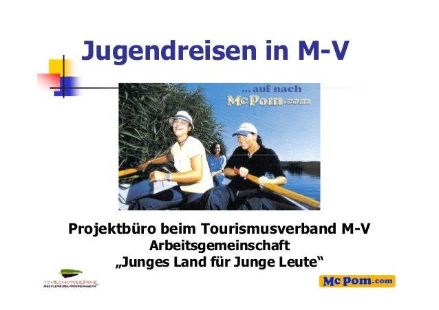 """Jugendreisen in M-V 1 Projektbüro beim Tourismusverband M-V Arbeitsgemeinschaft """"Junges Land für Junge Leute"""""""