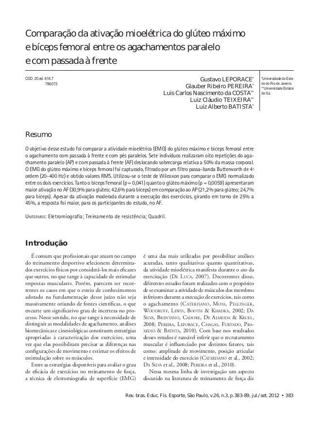 Comparação da ativação mioelétrica  Comparação da ativação mioelétrica do glúteo máximo  e bíceps femoral entre os agacham...