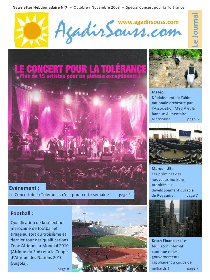 Newsletter Hebdomadaire N°7 – Octobre / Novembre 2008 – Spécial Concert pour la Tolérance                                 ...