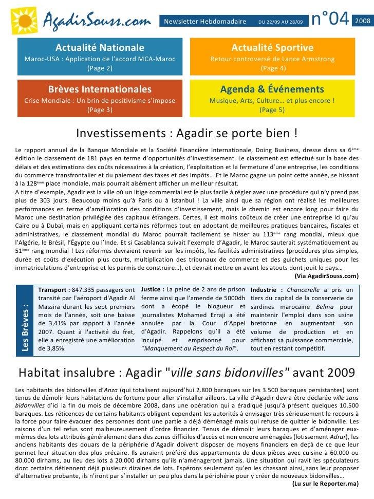 AgadirSouss.com                             Newsletter Hebdomadaire           DU 22/09 AU 28/09   n°04              2008  ...