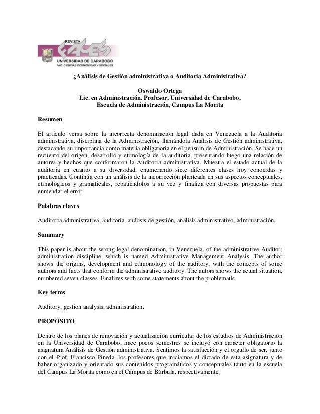 ¿Análisis de Gestión administrativa o Auditoria Administrativa? Oswaldo Ortega Lic. en Administración. Profesor, Universid...