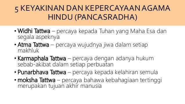 5 KEYAKINAN DAN KEPERCAYAAN AGAMA HINDU (PANCASRADHA) • Widhi Tattwa – percaya kepada Tuhan yang Maha Esa dan segala aspek...