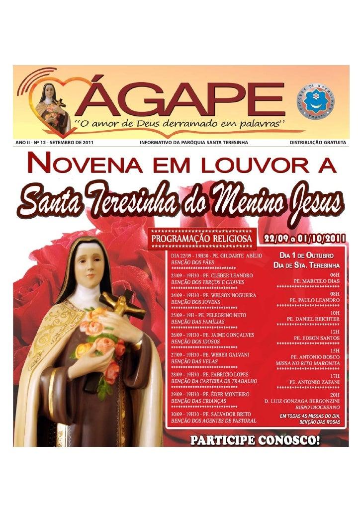ANO II - Nº 12 - SETEMBRO DE 2011   INFORMATIVO DA PARÓQUIA SANTA TERESINHA   DISTRIBUIÇÃO GRATUITA