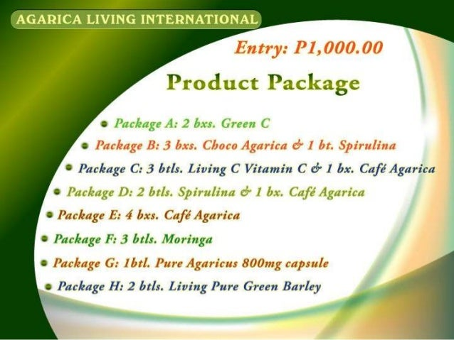 Agarica Living International Marketing Plan