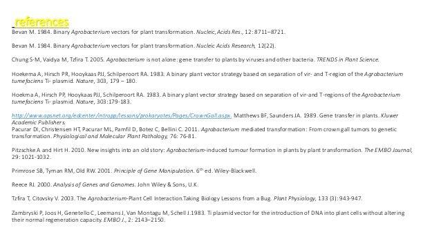 references: Bevan M. 1984. Binary Agrobacterium vectors for plant transformation. Nucleic,Acids Res., 12: 8711–8721. Bevan...