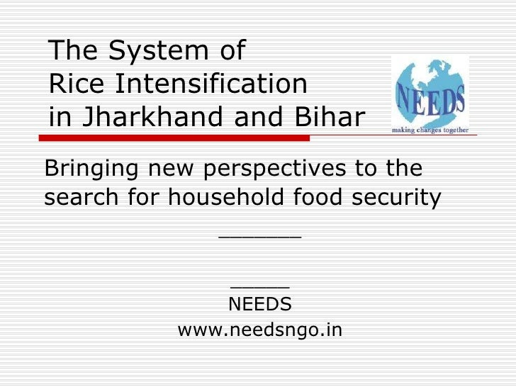 The System of  Rice Intensification in Jharkhand and Bihar Bringing new perspectives to the search for household food secu...