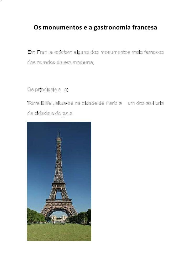 Os monumentos e a gastronomia francesa