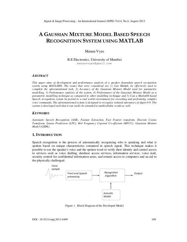 Signal & Image Processing : An International Journal (SIPIJ) Vol.4, No.4, August 2013 DOI : 10.5121/sipij.2013.4409 109 A ...