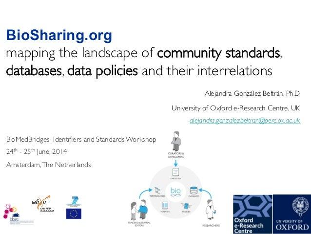 Alejandra González-Beltrán, Ph.D  University of Oxford e-Research Centre, UK  BioSharing.org mapping the landscape of co...