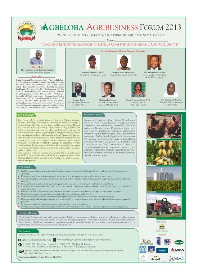 Agbeloba agribusiness forum 2013