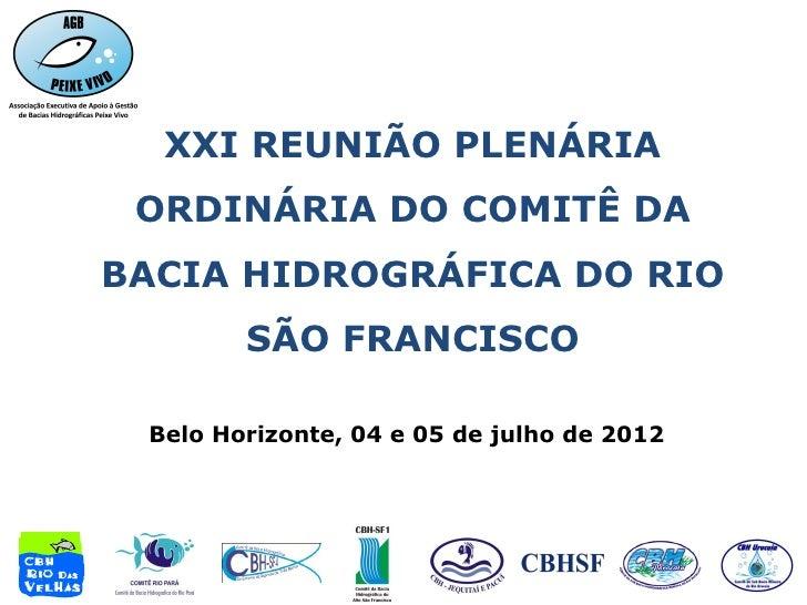 XXI REUNIÃO PLENÁRIA ORDINÁRIA DO COMITÊ DABACIA HIDROGRÁFICA DO RIO        SÃO FRANCISCO Belo Horizonte, 04 e 05 de julho...