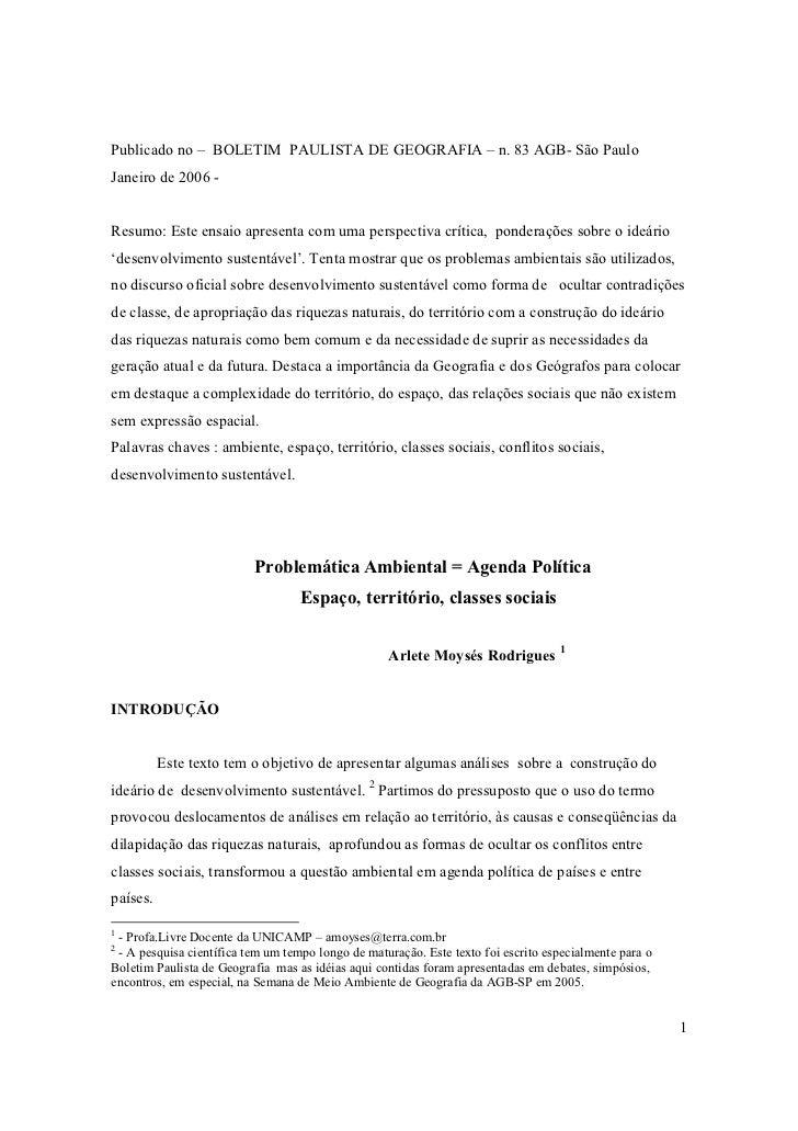 Publicado no – BOLETIM PAULISTA DE GEOGRAFIA – n. 83 AGB- São PauloJaneiro de 2006 -Resumo: Este ensaio apresenta com uma ...
